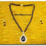 Silver Filigree Black Crystal Necklace Set