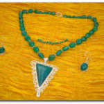 Silver Filigree Green Bead Necklace Set