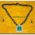 Silver Filigree Green Necklace Set